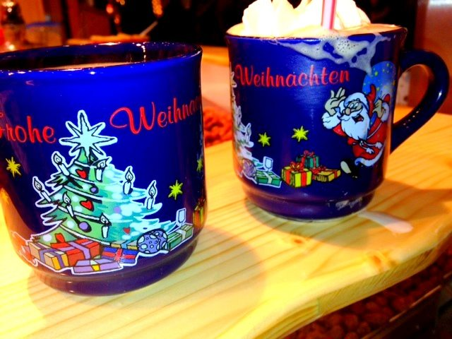 Hot wine and cocoa for me and Vinny!